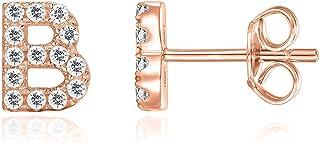 14K Rose Gold Plated Sterling Silver CZ Alphabet Letter Earrings | Initial Earrings for Girls