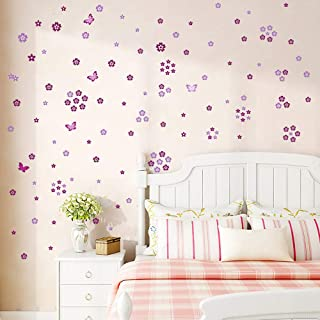 Supzone Butterfly Flowers Wall Sticker Purple Flower Wall Decals DIY Vinyl Removable Wall Art Stickers for Bedroom Living ...