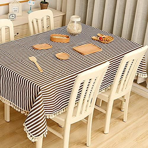 Mantel de Tela de algodón y Lino, pequeña Mesa Redonda Fresca y café, hogar, Rectangular, Cubierta de Mesa de jardín C140x220cm