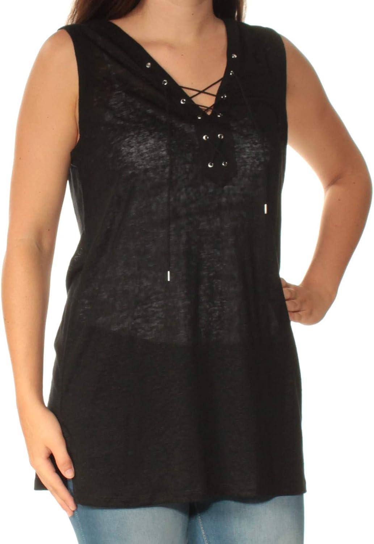 Ralph Lauren Womens Lace-Up Tank Top, Black, Small