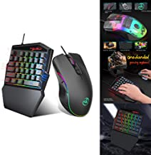 35-Key Gaming Keyboard Film One-Hand Keyboard Ergonomic Color Backlight One-Handed Game Wired Keyboard+Mouse Color Backlight (Black)