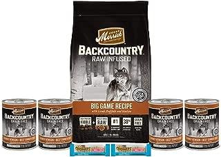 Merrick Backcountry Dry Dog Food- 1-4 Lb Bag 4 cans 2 Dental Chews 1 Lid 1 Dog Toy