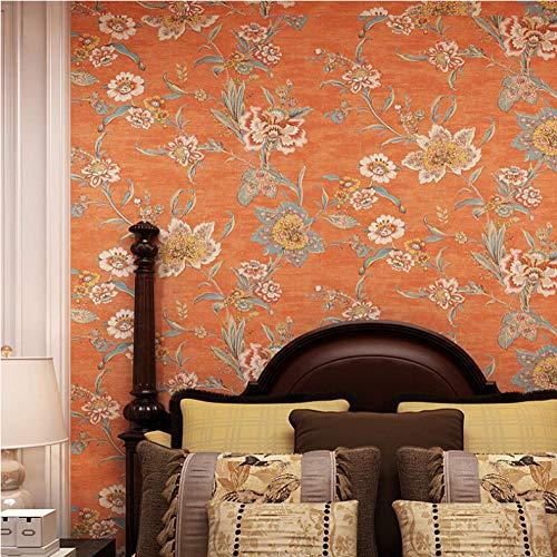 Behang Vintage Retro Oranje Grote Bloem Behang Muurschildering Luxe 3D Wallpapers Woonkamer Bloemen Behang Slaapkamer