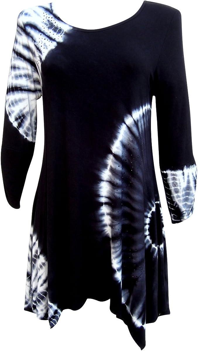 Nature Art Womens San Antonio Mall Tie Challenge the lowest price Dye Long Top Shirt Tunic Dress Handk Rayon
