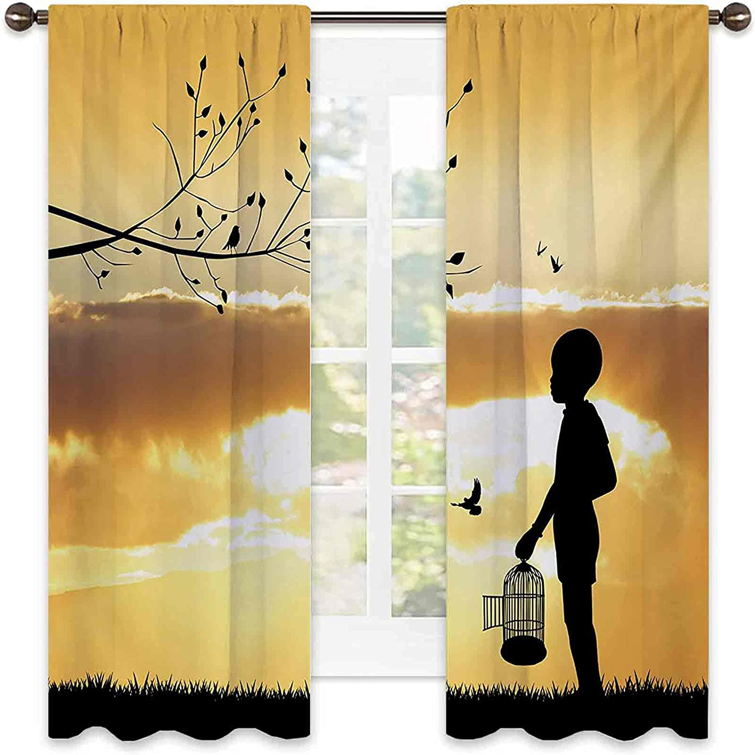 Heat Insulation Quality inspection Nature Curtain Little Child with Silhouette B Max 42% OFF a