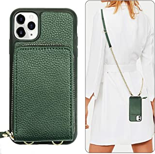 JLFCH iPhone 11 Pro Max Wallet Case, iPhone 11 Pro Max Crossbody Case with Zipper Credit Card Holder Wrist Strap Lanyard Protective Women Girl Purse for iPhone 11 Pro Max, 6.5 inch - Midnight Green