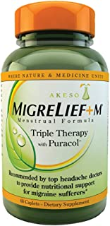 MigreLief+M - Nutritional Support for Women Suffering with Menstrual/Hormonal Migraines - 60 Caplets/1 Month Supply