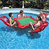 WQSFD Mesa Flotante Inflable Pool Party Float Game and Lounge, Asiento Inflable Mahjong Table Poker Mesa Flotante Pool con 4 Asientos Flotantes para Pool Party para Jugar En La Piscina