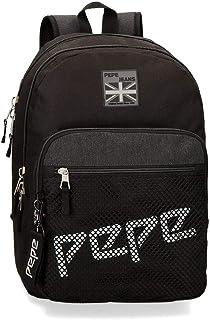 Mochila Doble Cremallera Adaptable Pepe Jeans Ren, 46 cm, Negro