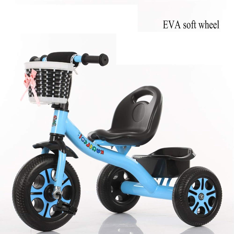 GIFT Dreirad Kinder Fahrrad 3 Rad Fahrrad Kinderwagen Kinderwagen, Abnehmbare Schubstange, Eva Weiches Rad, 2-6 Jahre Alt Spielzeug Geschenk,D