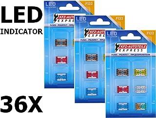 Sortiment, LED Status Micro Low Profile KFZ Sicherungen, Set mit 36 Stück, 5A 30A