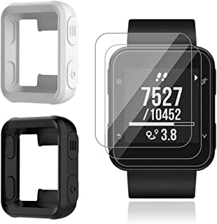 AFUNTA 2 Pcs Watch Cover & 3 Pcs Screen Protector for Forerunner 35, Tempered Glass Film Anti-Scratch High Definition Shield