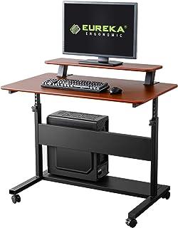 EUREKA ERGONOMIC Altura de escritorio ajustable escritorio móvil con aparador desmontable de 40  Teca