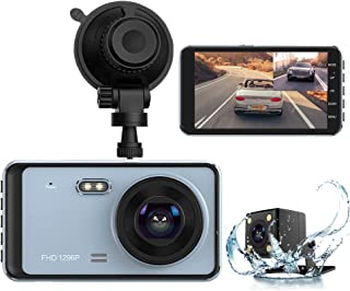 Dual Dash Cam, DashCam Front and Rear View Camera 1296P FHD 4 inch IPS Touch Screen 170° Wide Angle Dash Camera for Cars with Night Vision