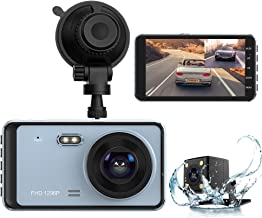 Dash Cam, Dual Dash Cam Front and Rear View 1296P FHD 4 inch IPS Touch Screen 170° Wide Angle Dash Camera for Cars with Night Vision