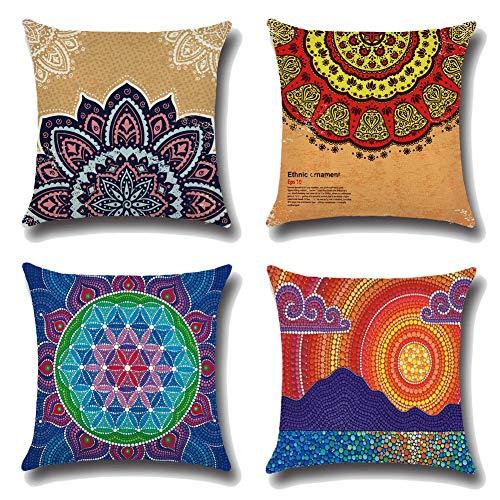 136 Funda de cojín de lino y algodón para sofá o coche, 45 x 45 cm, juego de 4 (flores)