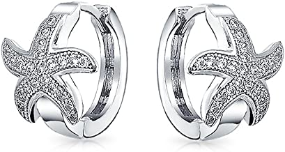 Nautical Starfish Shaped Huggie Hoop Earrings For Women For Teen Micro Pave CZ Cubic Zirconia 925 Sterling Silver