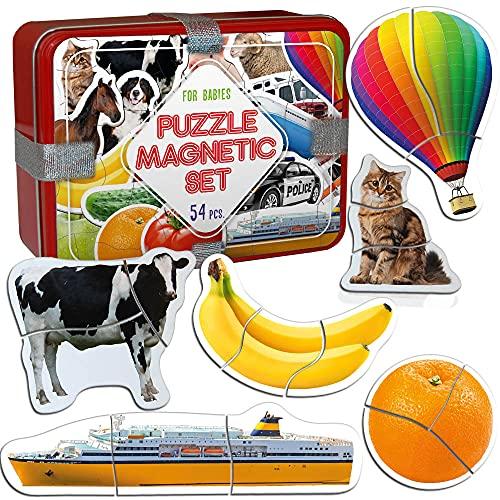 Magdum Magnetica Puzzle 3 años Zoo+Granja+Frutas+Verduras+Transporte - 18 Grandes Puzzle Bebe 1 año - Juguetes magnéticos - Imanes Nevera niños - Juguetes niños 3 años educativos - Imanes niños