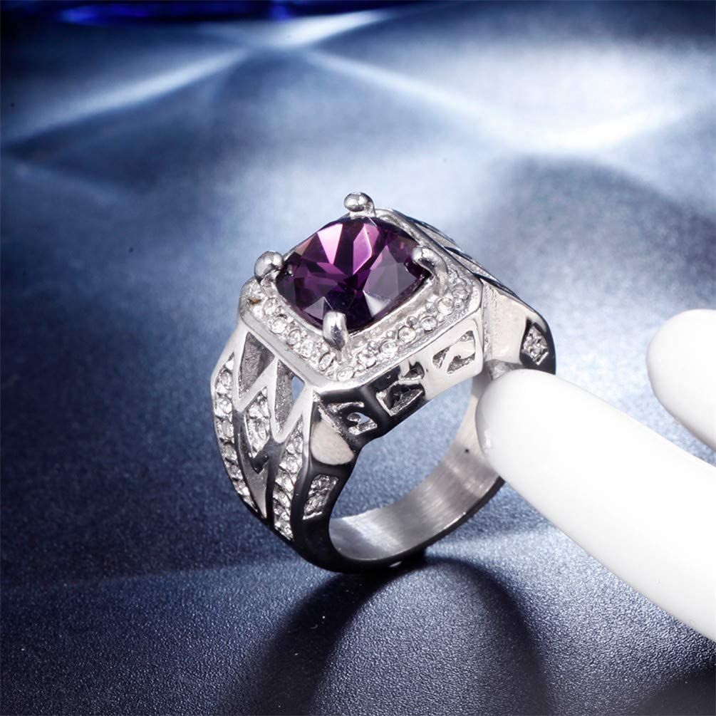 OAKKY Men Women's Stainless Steel Vintage Europe and America Birthday Present Cubic Zirconia Ring