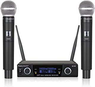 Dual UHF Professional Wireless Microphone System Karaoke Up to Range 200ft, Wedding, Conference,Evening Party, Meeting, Stage (UK-38)