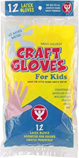 Hygloss Products Craft Gloves for Kids - Made from Natural Latex - Lightly Powdered - Protection for Hands - Multiple Uses - Disposable - 5 Assorted Colors - 12 Pack