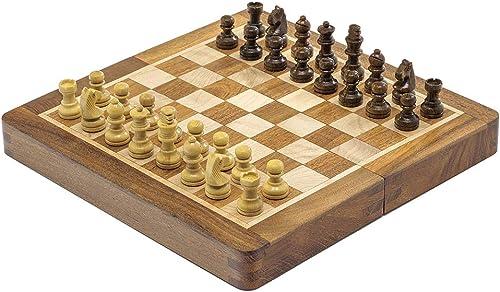 Deluxe Hartholz Faltreifen Magnetisch Reise 7.5 Zoll Schachspiel