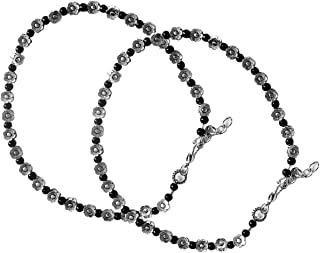 AyA Fashion Black Oxidised German Silver Floral Beads Anklet for Women