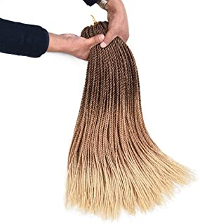 AliRobam 24Inch Senegalese Twist Crochet Braids Braiding Hair Extensions 30Strands 6 Packs Ombre Synthetic Hair Honey Blonde 2S Crochet Braid Hair (2S braids, DarkBrown-LightBrown-HoneyBlonde)