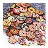100 Stück Retro Knöpfe, 20mm Bunte Harz Bastelknöpfe Gemischte Multicolor Rund Kinderknöpfe Puppenknöpfe mit 2 Löcher zum Basteln, Nähen, Handwerk, Malerei, DIY Basteln, Deko