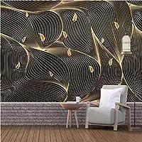 写真の壁紙3D立体空間カスタム大規模な壁紙の壁紙 黄金の糸の葉の壁の装飾リビングルームの寝室の壁紙の壁の壁画の壁紙テレビのソファの背景家の装飾壁画-280X200cm(110 x 78インチ)