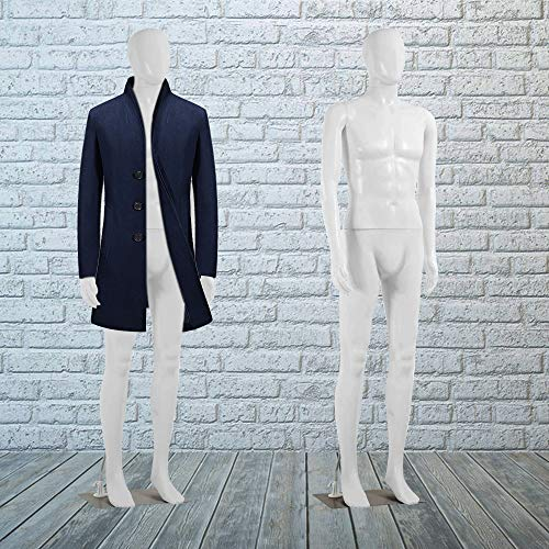 """Mannequin Torso Manikin Dress Form Male 73"""" Adjustable Detachable Realistic Full Body Mannequin Model Display with Metal Base Plastic Head Turns Poseable Adult Dummy Mannequin Stand, White"""
