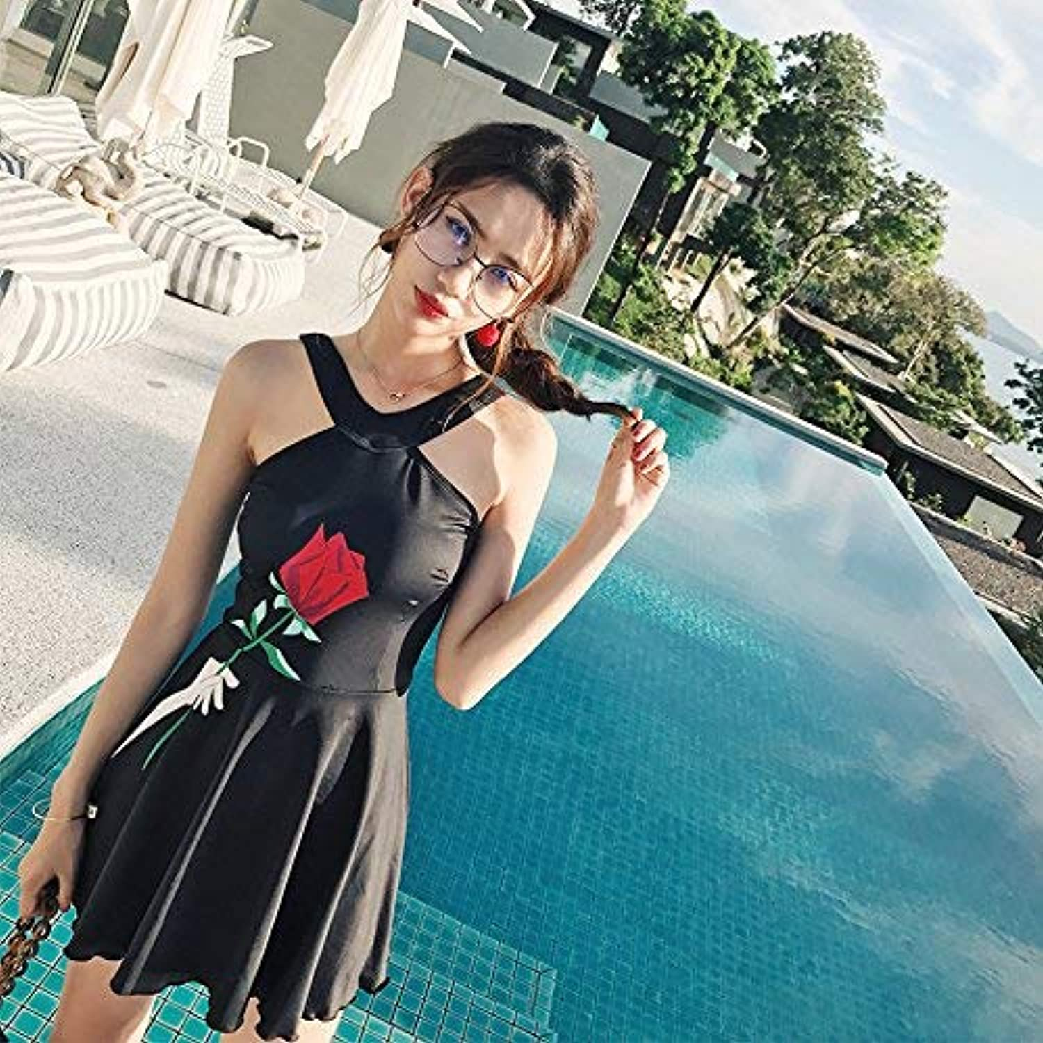 Split Skirt Style Swimsuit, Split Skirt Style Swimsuit Small Chest Conservative Video Thin Hot Springs, Black pink,XXL (color   As Shown, Size   One Size)