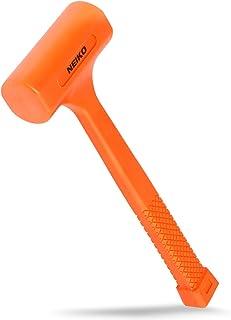 Neiko 02846A 1 LB Dead Blow Hammer, Neon Orange | Non Slip Handle