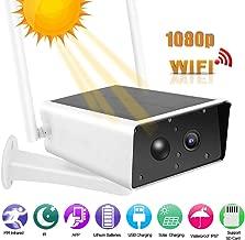 Cámara de bajo Consumo de energía Solar, cámara de vigilancia inalámbrica al Aire Libre 1080P HD WiFi, Construido en diseño Impermeable de la batería con Pantalla de monitoreo en Tiempo Real