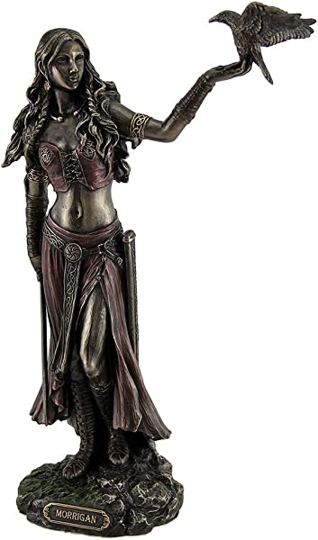 Resin Statues Morrigan The Celtic Goddess Of Battle W Crow Sword Bronze Finish Statue 6 5 X 10 25 X 3 Inches Bronze