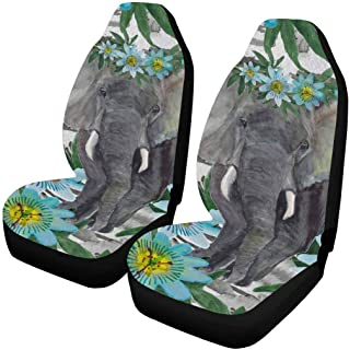 INTERESTPRINT Watercolor Elephant Flowers Stripes Auto Seat Protector 2 Pack, Vehicle Seat Protector Car Mat Covers, Fit Most Vehicle, Cars, Sedan, Truck, SUV, Van