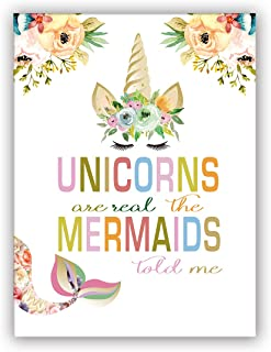 """Unicorn Mermaids Art Print Set of 1 (12""""X16""""Watercolor Flower Printing Mermaid Unicorn Gift for Girls, Canvas Prints Wall Pictures for Bedroom Home Decor,No Frame"""