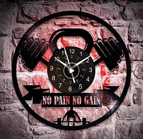 Reloj de Vinilo Gym No Pain No Gain Gym Gym Clock Gym Handmade Clock Gym Reloj de Pared Vintage Sport Gift para Hombre