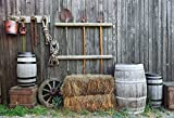 Yeele 10x8ft Western Old Barn Backdrop Barrel Hay Bale Background for Photography Countryside Farmhouse Fork Pitchfork Wagon Wheel Rustic Style Photo Booth Video Shoot Vinyl Studio Props