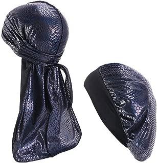 Cool Fishscale Snakeskin Pattern Durag Wave Cap with Velvet Band Sleep Bonnet Hat for Women Men