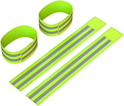 Reflective Ankle Bands (4 Bands/2 Pairs) | High Visibility and Safety for Jogging/Cycling/Walking etc | Works as Wristband...