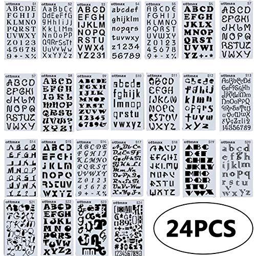 Journal Plantillas de Dibujo, FANDE 24 Piezas Plantillas Pintura Set Letras y Números Plantillas Drawing Painting Stencils Plantillas para Manualidades