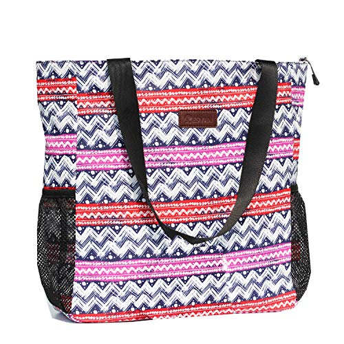 Original Floral Water Resistant Large Tote Bag Shoulder Bag for Gym Beach Travel Daily Bags Upgraded ([Q] Pattern)
