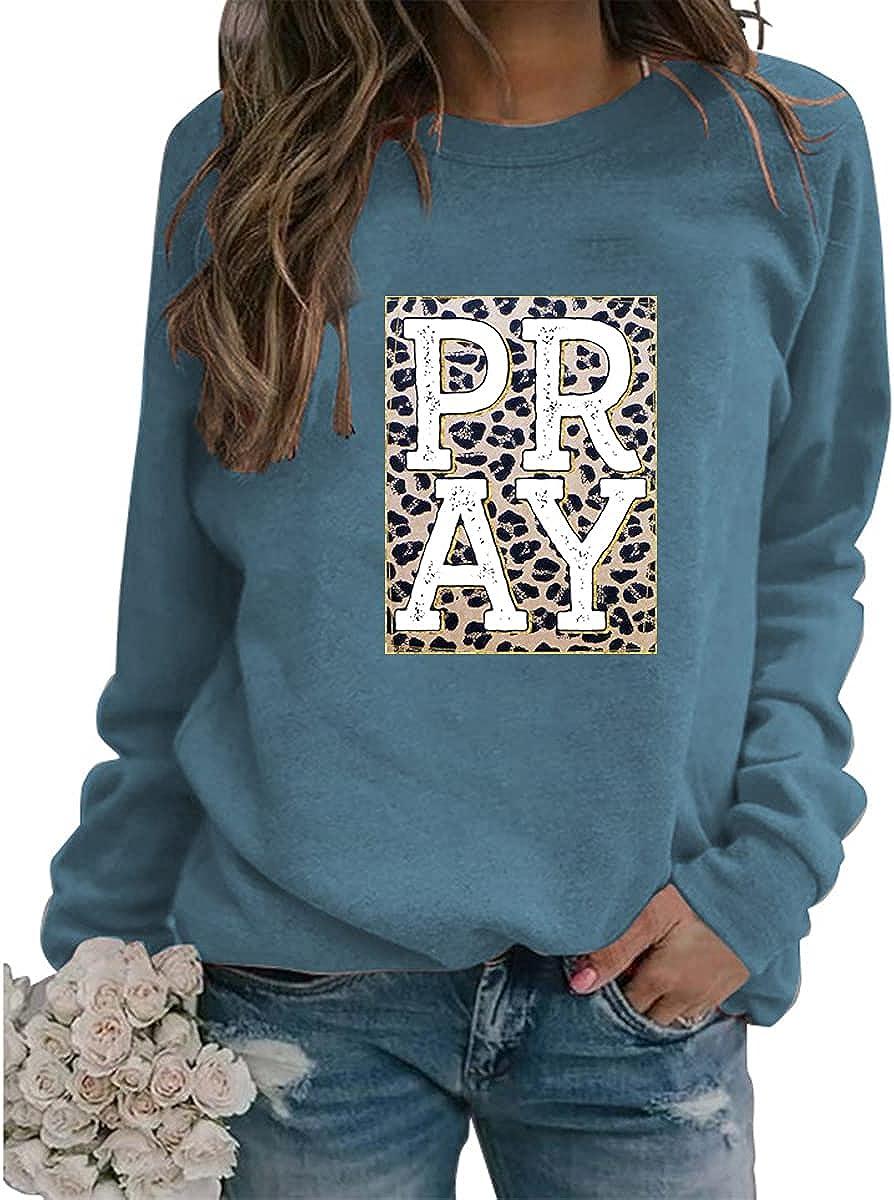 Women's Pray Leopard Letter Print Sweatshirt Christian Religious Sweatshirt Casual Long Sleeve Crew Neck Pullover Tops