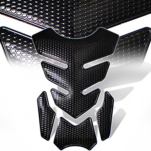 3D 4-Piece Customize Fuel Tank Pad Decal / Sticker Perforated Black w/Black Trim