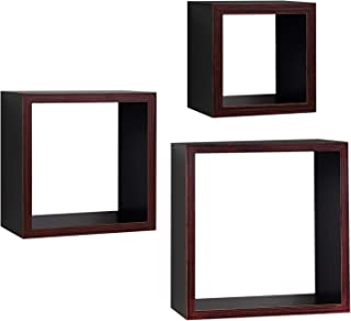 Americanflat Square Floating Wall Shelves - 3 Sizes: 9x9, 7x7, and 5x5 Inches - Espresso