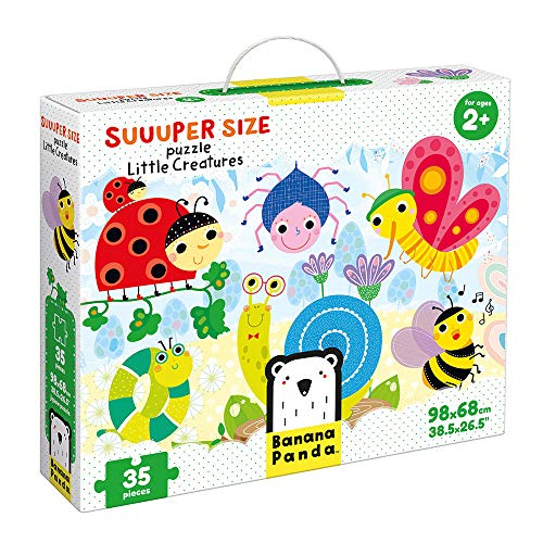 Banana Panda - Suuuper Size Puzzle Little Creatures - Large Jigsaw Floor Puzzle for Kids Ages 2 Years and Up,Multicolor