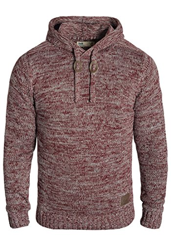 !Solid Pluto Herren Winter Pullover Strickpullover Kapuzenpullover Grobstrick Pullover mit Kapuze, Größe:M, Farbe:Wine Red Melange (8985)