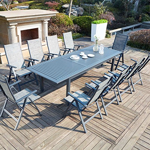 JFB Le Merry : Salon de Jardin Table Extensible et 10 chaises en Aluminium