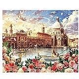 Reiichi 5d Pintura De Diamante Diy Pintura Cruzada Cross Square Round Diamond Diamond Bordery Venice City Scenery Picture Para Decoraciones De Habitaciones 60x90cm NoFramed